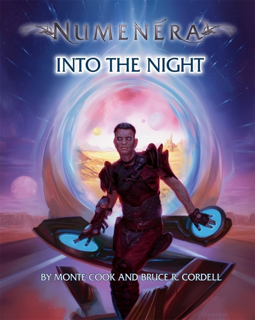 Cover of Into the Night, features a man in front of a vortex with his hands on controls